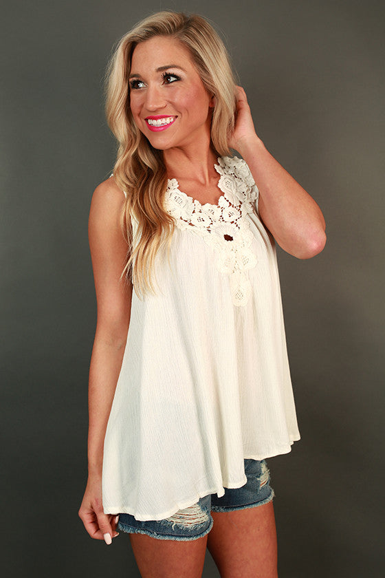 Classic Beauty Crochet Tank in White