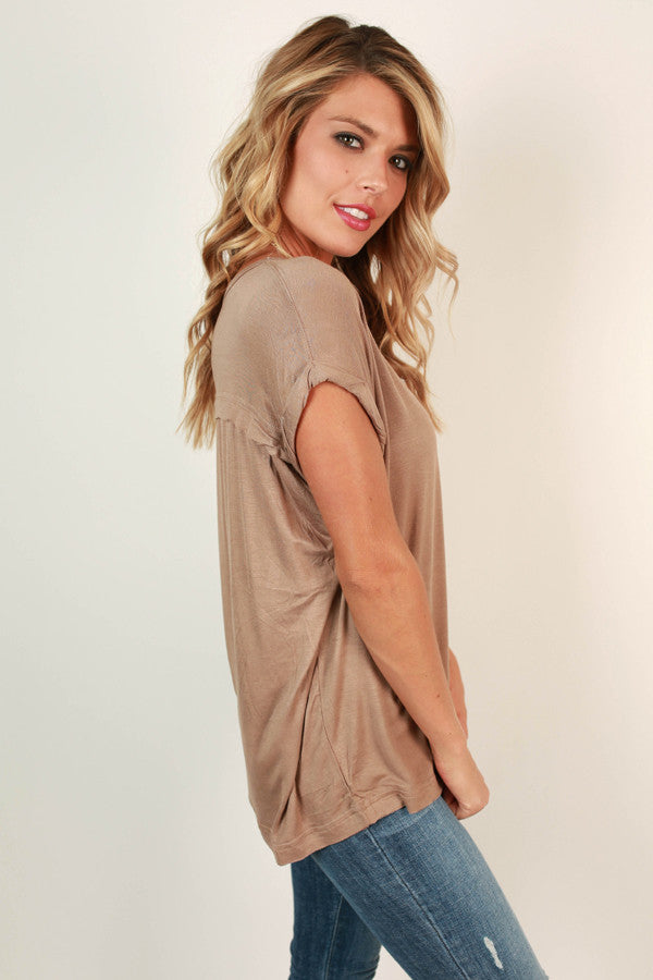 Always The Favorite Shift Tee in Warm Taupe