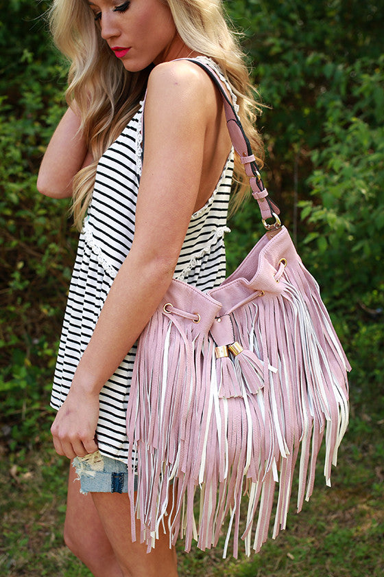 Gorgeous Companion Fringe Bag in Blush