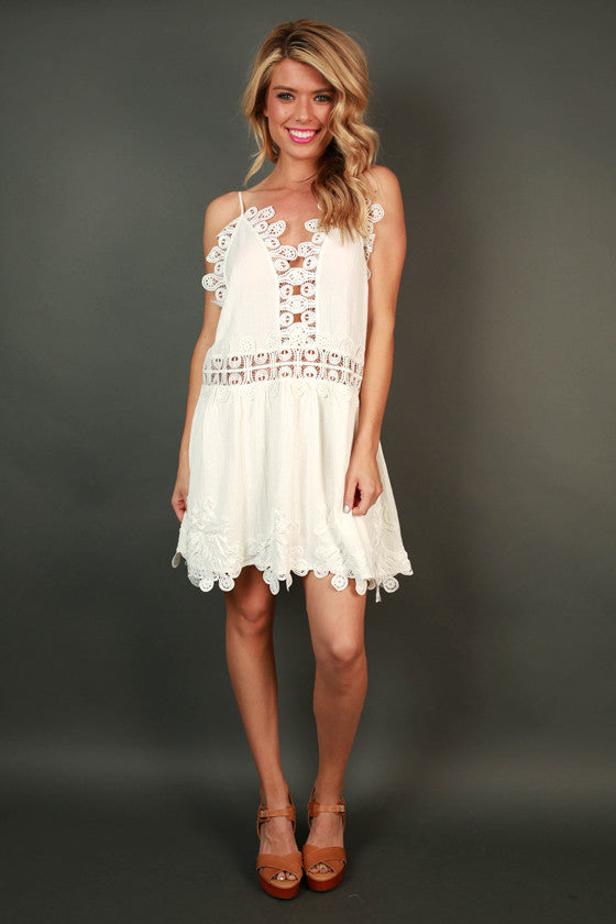 Blushing Beauty Lace Trim Dress