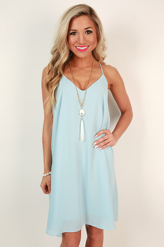 Play By Play V-Neck Dress in Sky Blue