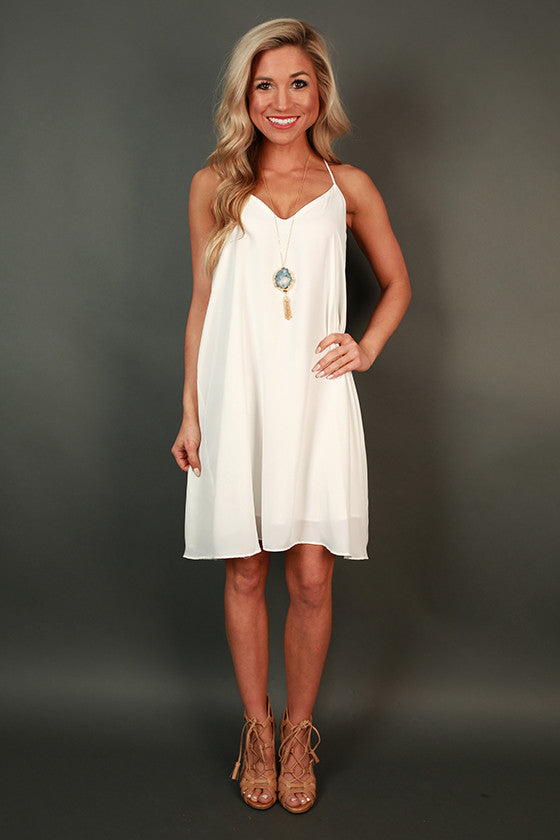 Play By Play V-Neck Dress in White
