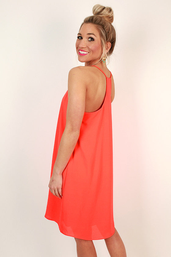 Play By Play V-Neck Dress in Neon Coral