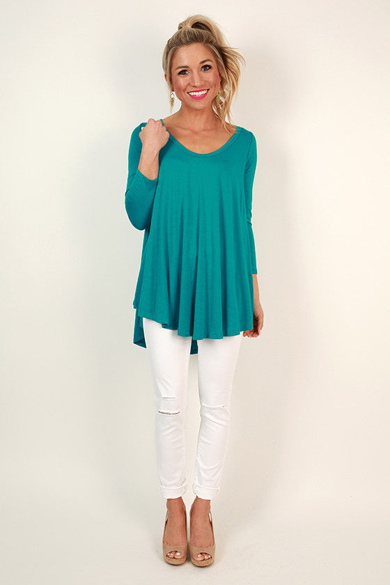 Dream Team V-Neck Tee in Turquoise