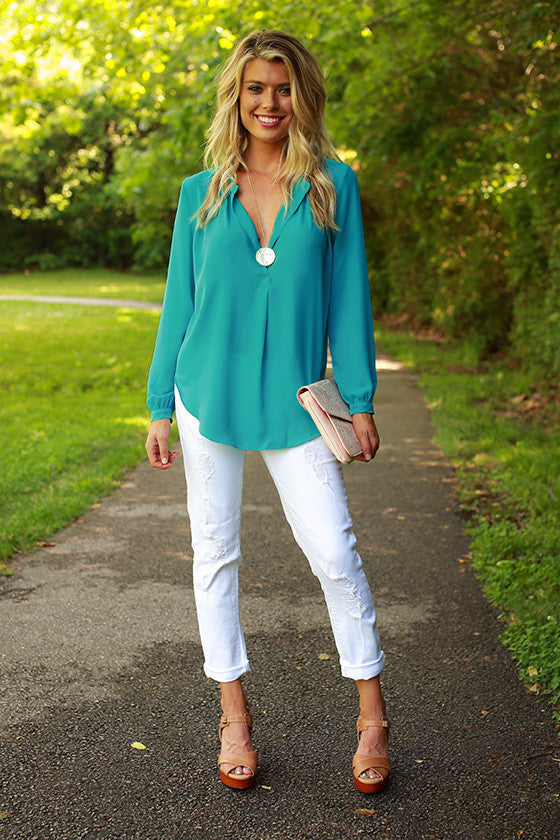 Juniper Darling Top in Turquoise