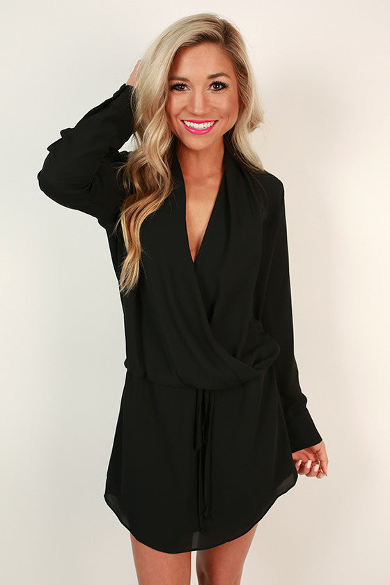 Radiant Darling Tie Waist Dress in Black