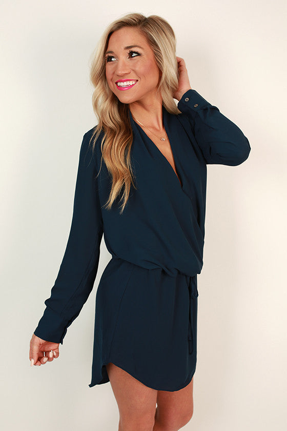 Radiant Darling Tie Waist Dress in Navy