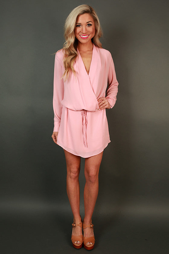 Radiant Darling Tie Waist Dress in Rose Quartz