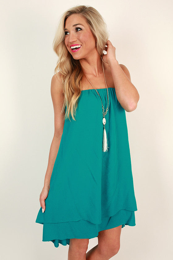 The Ava Layered Dress in Turks Turquoise