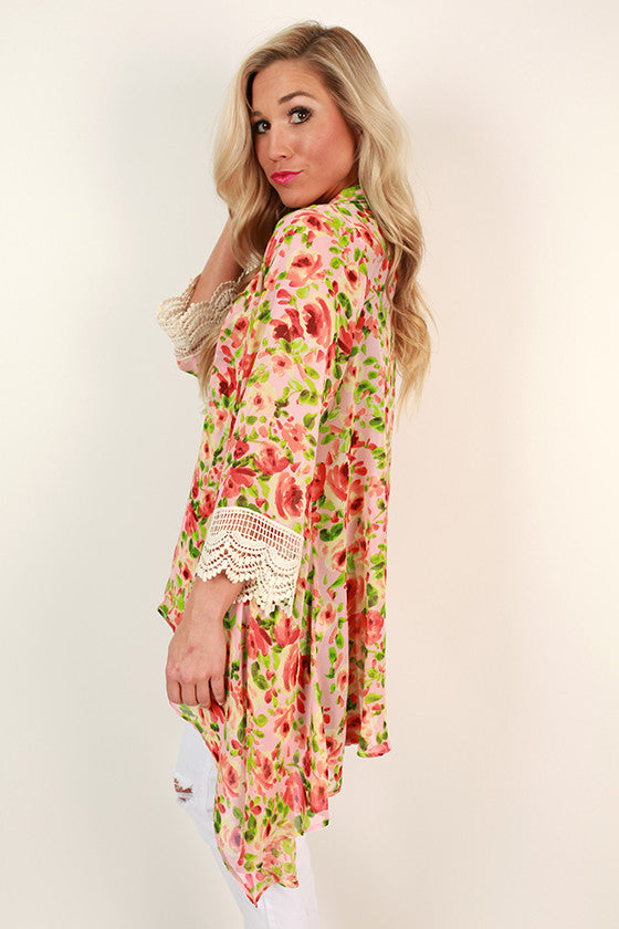 The Eve Chiffon Overlay in Peach Bellini Floral