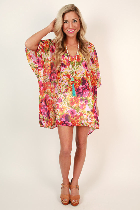 The Harper Chiffon Tunic In Floral Confetti