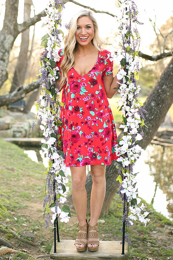The Emma Shift Dress In Strawberry Margarita Floral