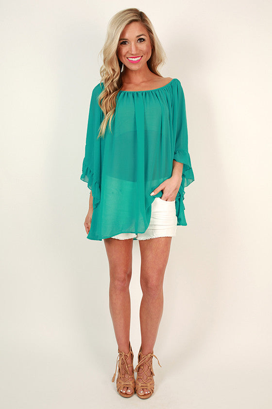 The Chloe Chiffon Top in Turks Turquoise