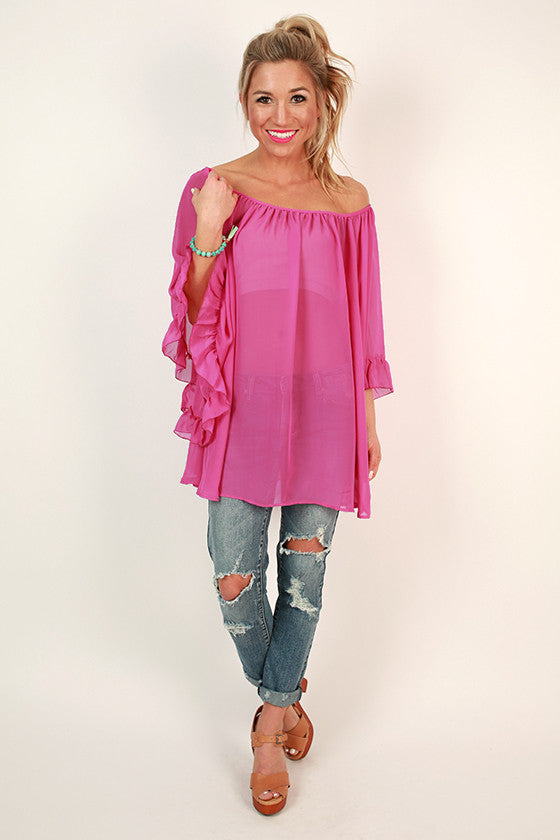 The Chloe Chiffon Top in Radiant Orchid