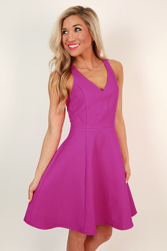 Dating Prince Charming Fit & Flare Dress in Fuchsia