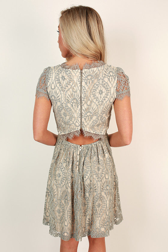 Roman Holiday Lace Dress in Grey