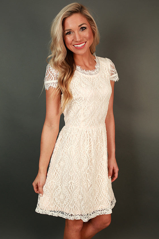 Roman Holiday Lace Dress in White