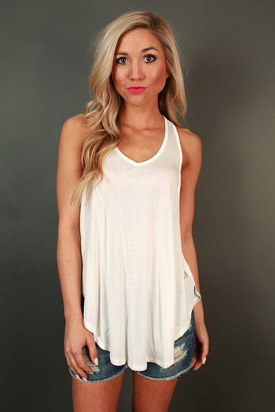 French Riviera V-Neck Flowy Tank in Ivory