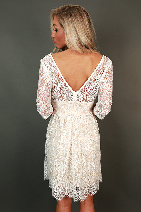 Love in London V-Neck Lace Fit & Flare Dress