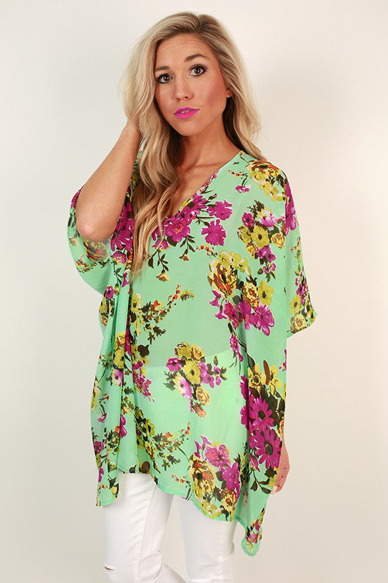 The Harper Chiffon Tunic in Mint Kiss Floral