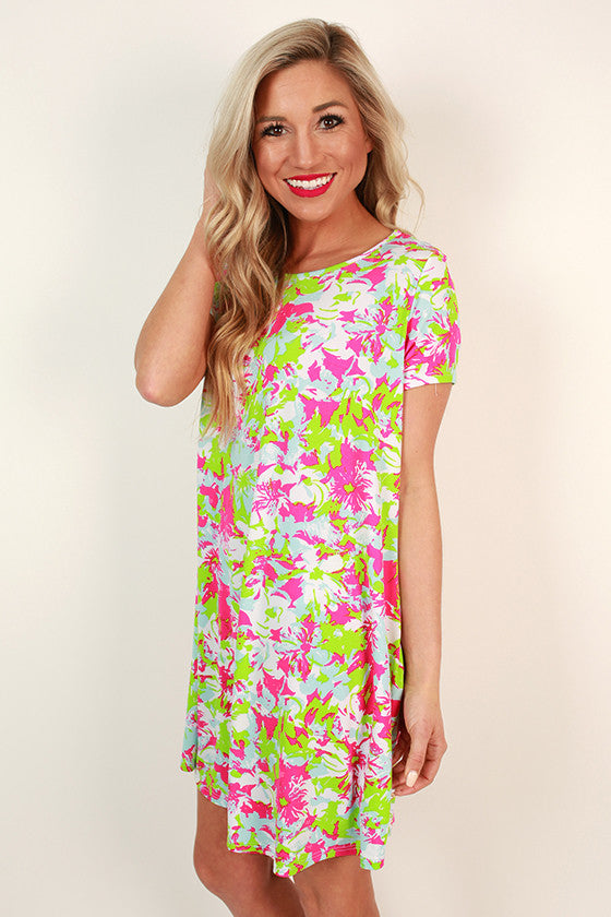Rooftop Party Shift Dress in Green Flash