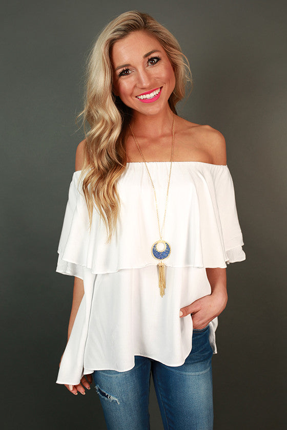 High Society Off Shoulder Ruffle Top
