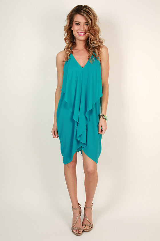 Fashion Week V-Neck Dress in Turquoise