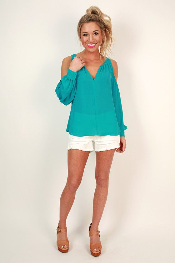 Gardenia Gorgeous Cold Shoulder Top in Turquoise