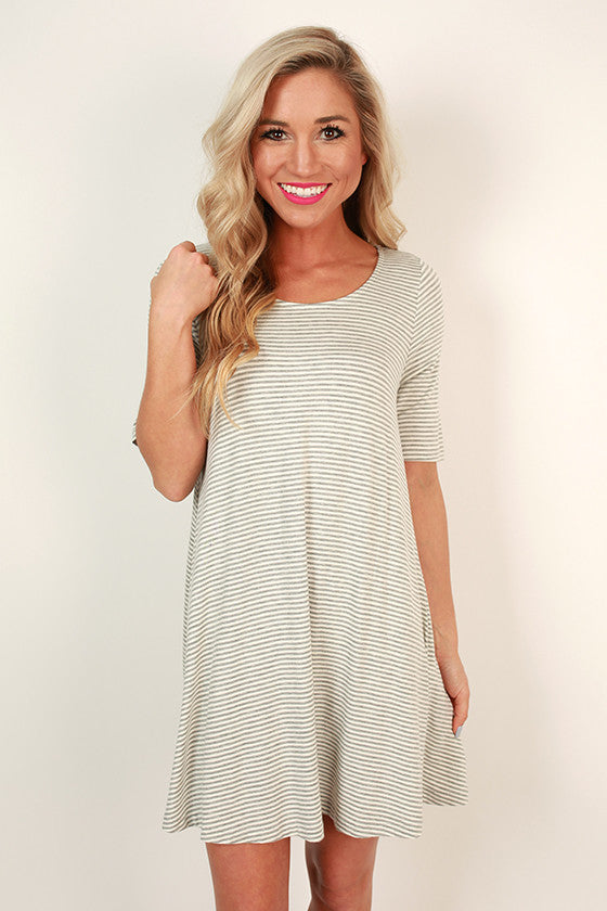 Ballerina Stripe Shift Dress in Grey