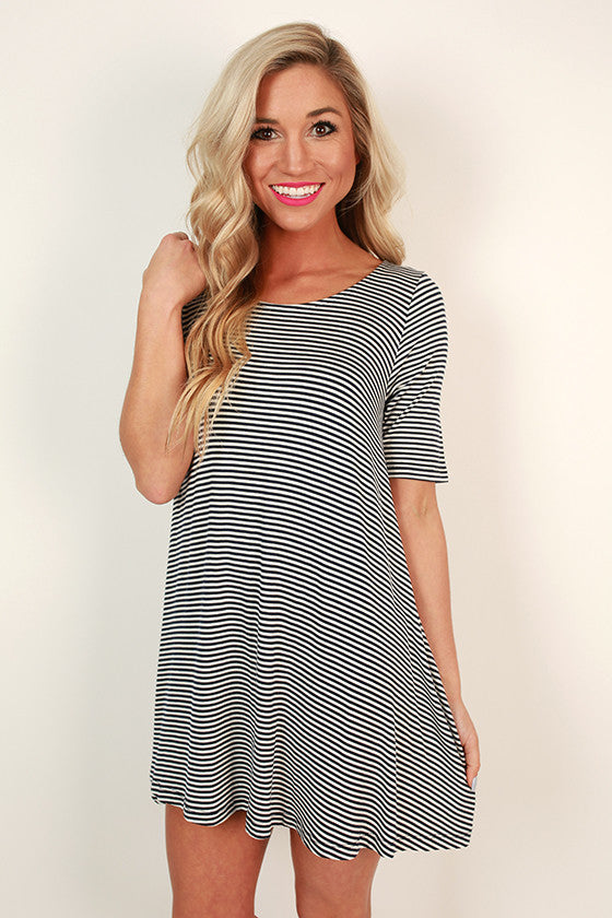 Ballerina Stripe Shift Dress in Navy