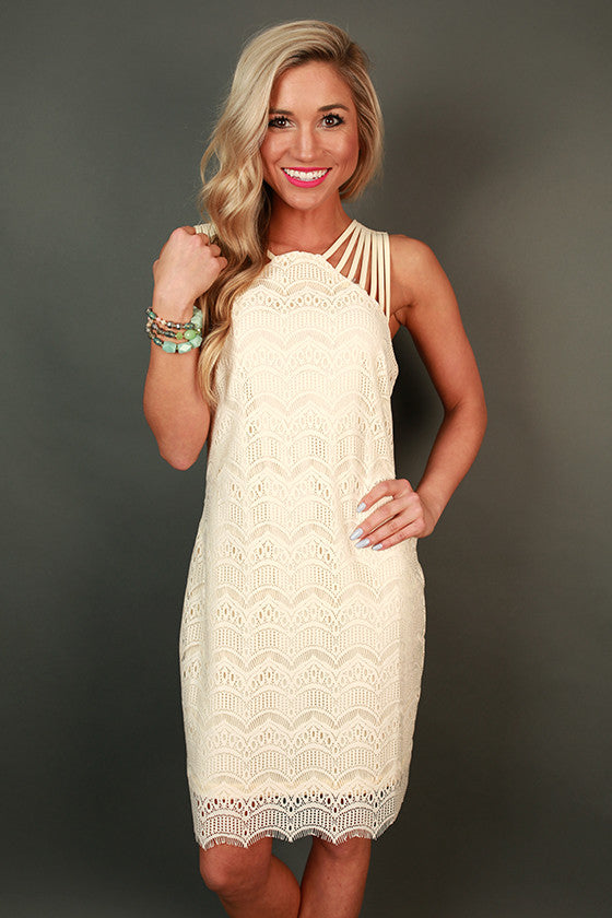 Lace & Kisses Mini Dress in Cream