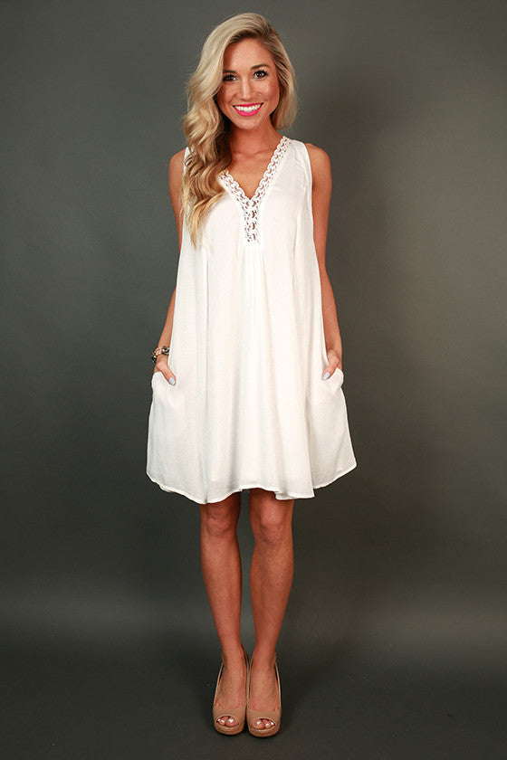 Shopping for Sweets Shift Dress in White