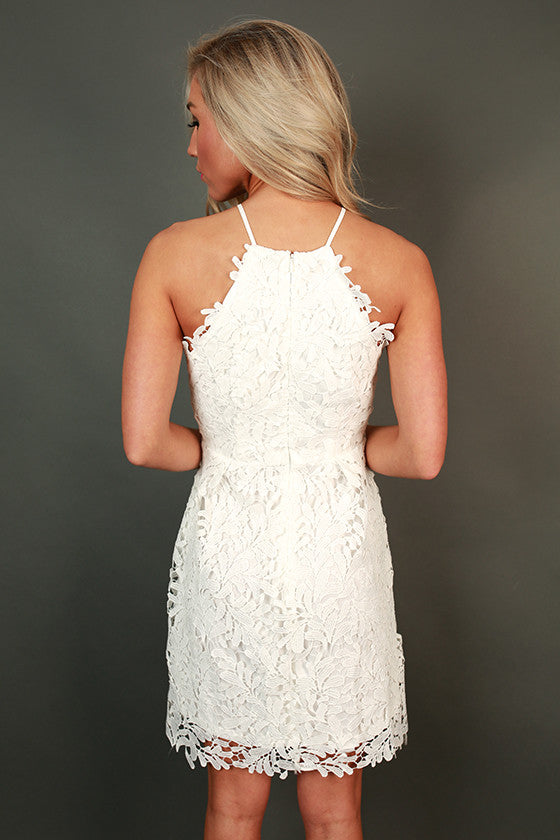 Garden Grace Crochet Mini Dress in White