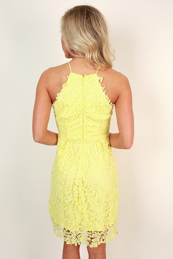Garden Grace Crochet Mini Dress in Yellow