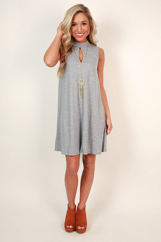 Fashion Week Chic Shift Dress in Grey