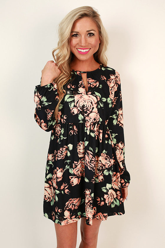 Floral Sass Shift Dress in Black