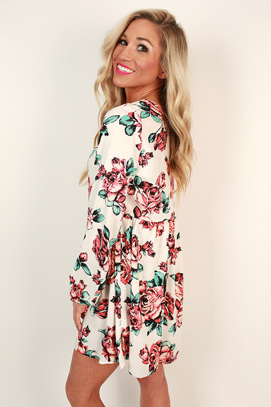 Floral Sass Shift Dress in White
