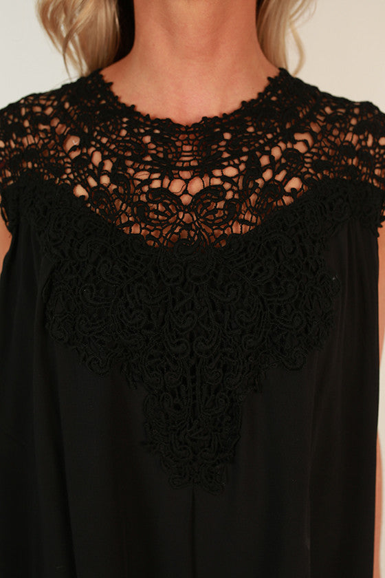 Evening With the Royals Shift Dress in Black