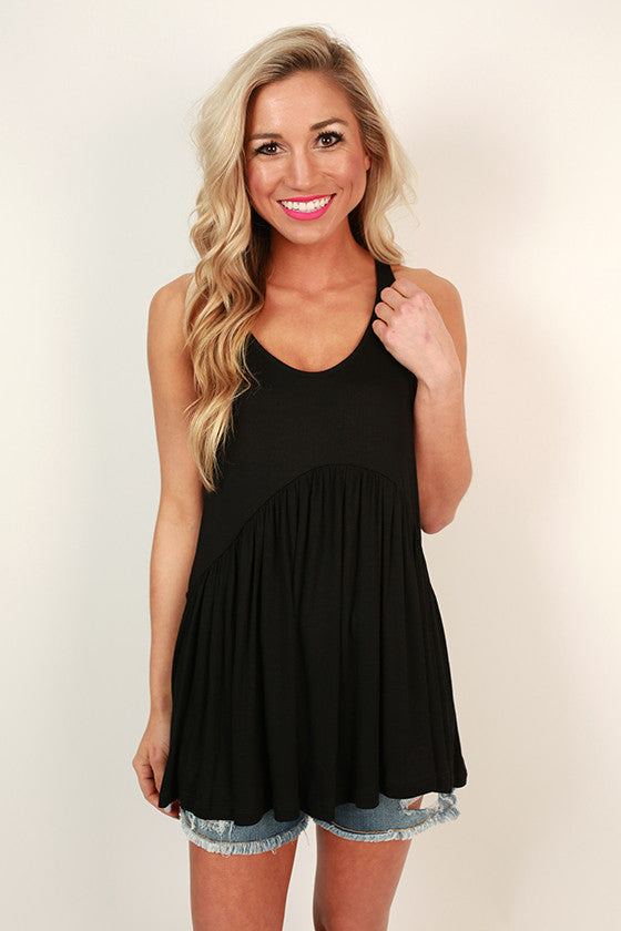 Concert Season Babydoll Tank in Black