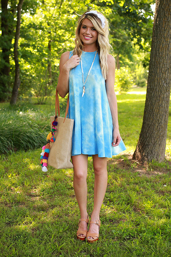 Road Trip Ready Tie Dye Tank Dress in Sky Blue