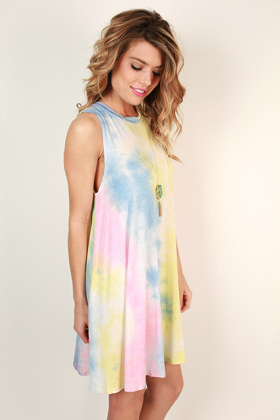 Road Trip Ready Tie Dye Tank Dress in Buttercup