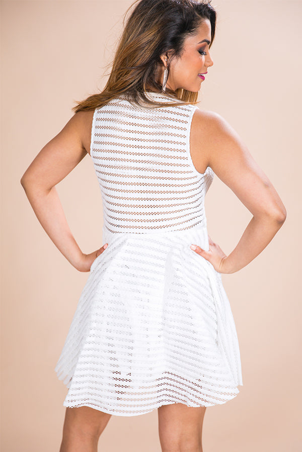 Heart Skips Fit & Flare Dress in White