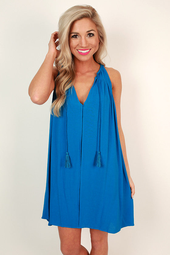 Blissful Babe Shift Dress in Snorkel Blue