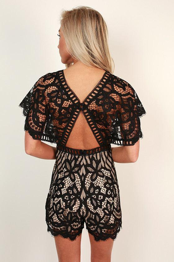 Cocktail Chic Lace Romper