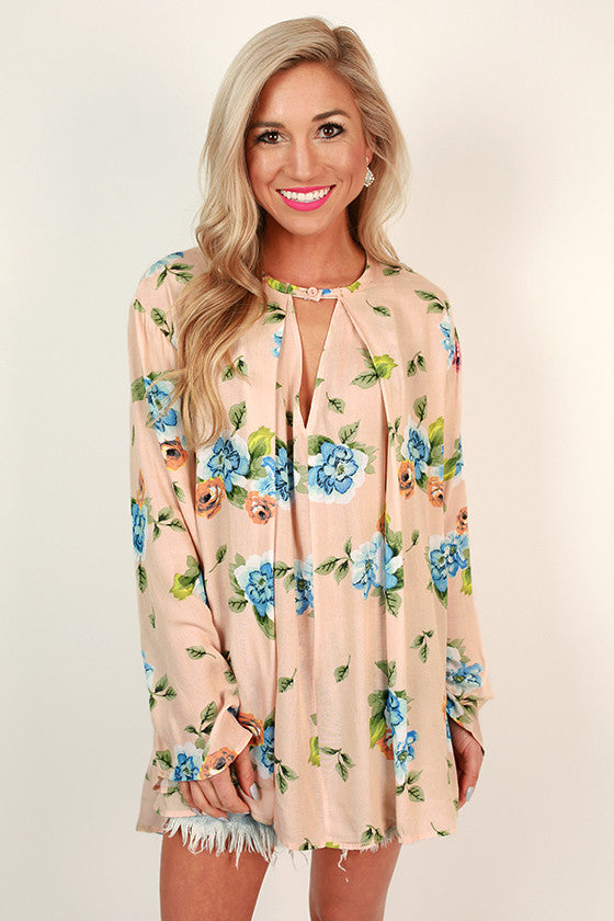 Gardens Of Versailles Floral Shift Tunic in Nude