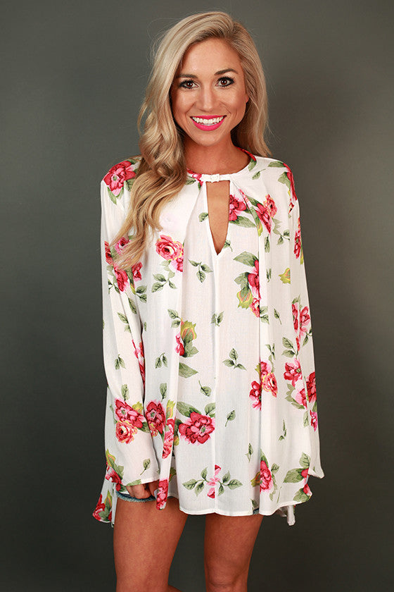 Gardens Of Versailles Floral Shift Tunic in White
