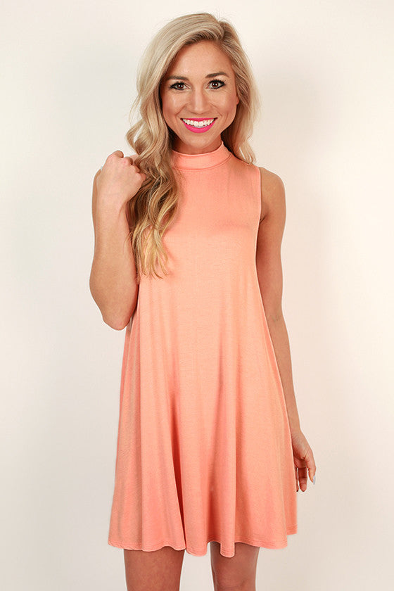 First Class Flight Tank Dress in Peach