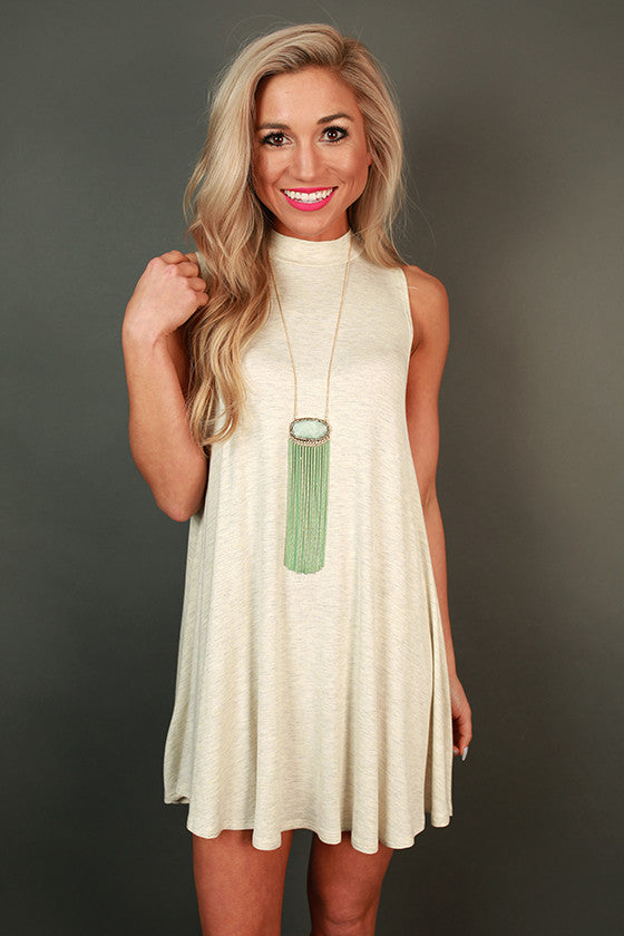First Class Flight Tank Dress in Stone