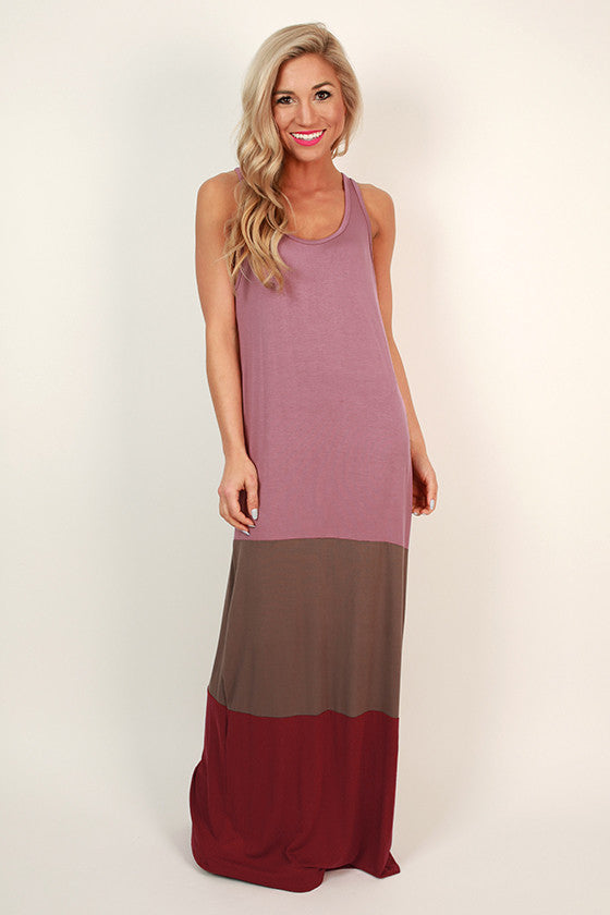 Caribbean Calling Color Block Maxi Dress in Blush