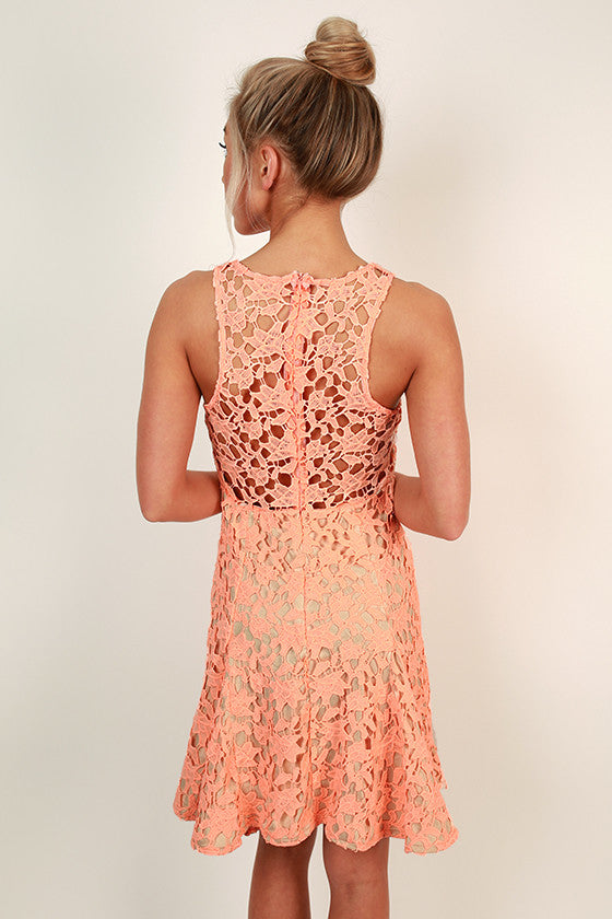 Love At Last Fit & Flare Dress in Neon Peach